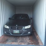 Shipping container with vehicle inside