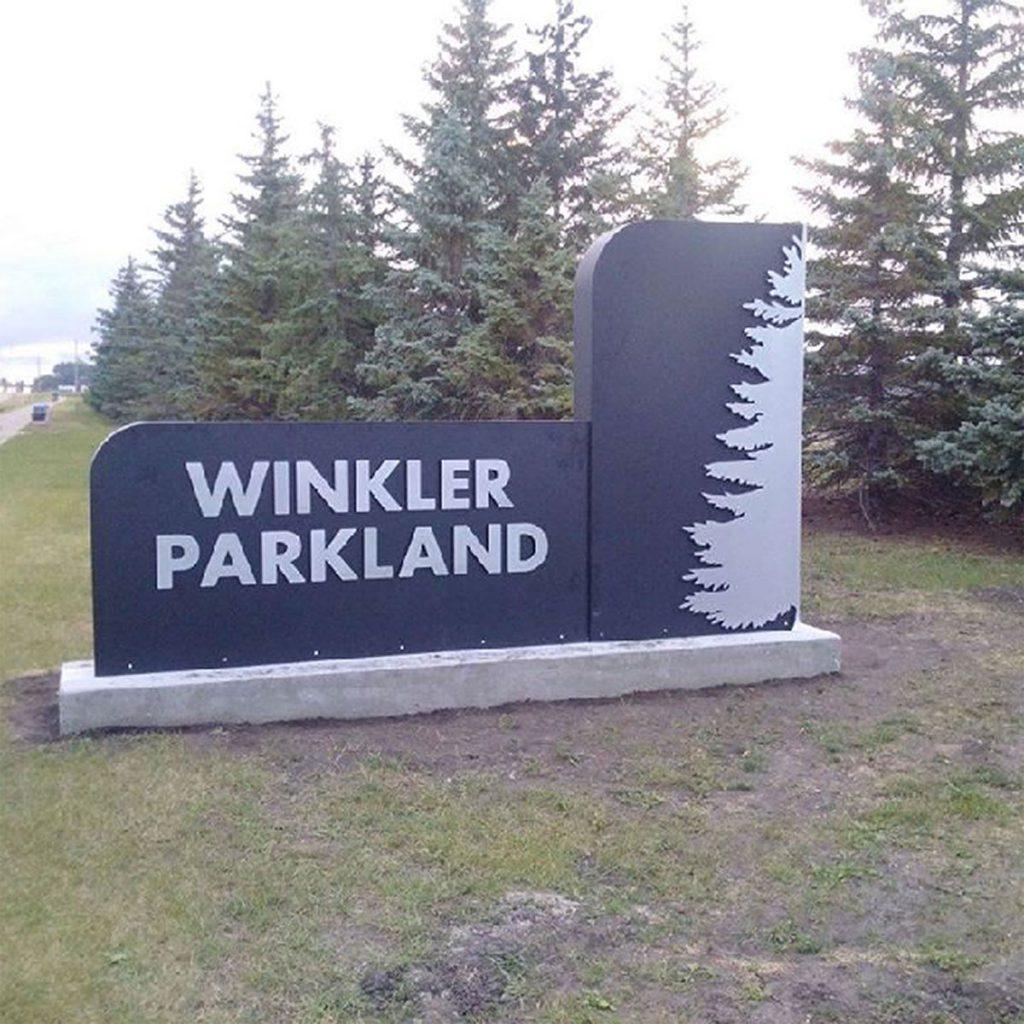 Winkler Parkland sign